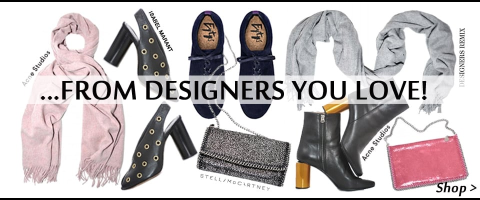 Designers You Love New season Collections, shop shoes, cashmere scarves, Falabella bags online now