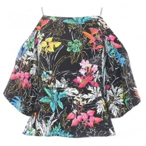 Peter Pilotto Printed Cold Shoulder Top