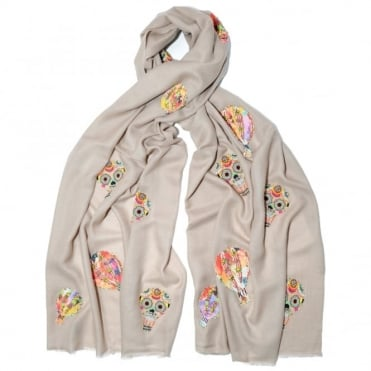 Janavi Embroidered Skull Balloon Scarf