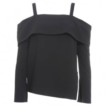 Tibi Off Shoulder Button Back Top