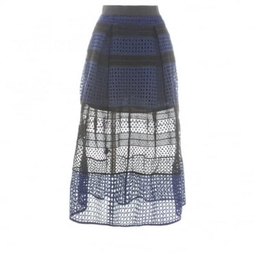 Self-Portrait Crosshatch Panel Skirt