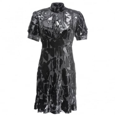 McQ Alexander McQueen Short Sleeve Velvet Dress