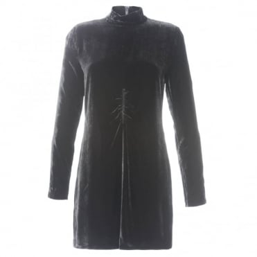 McQ Alexander McQueen High Neck Velvet Dress
