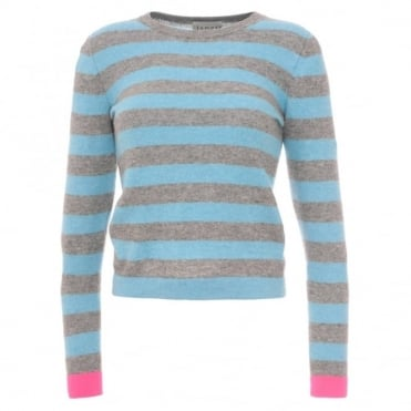 Jumper 1234 Stripe Pink Cuff Sweater