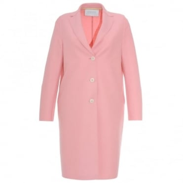 Harris Wharf London Pink Single Breasted Button Coat