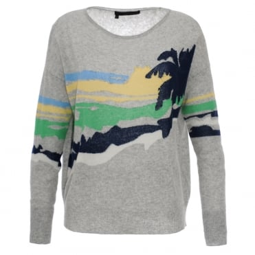 360 Cashmere Sunny Palm Tree Sweater