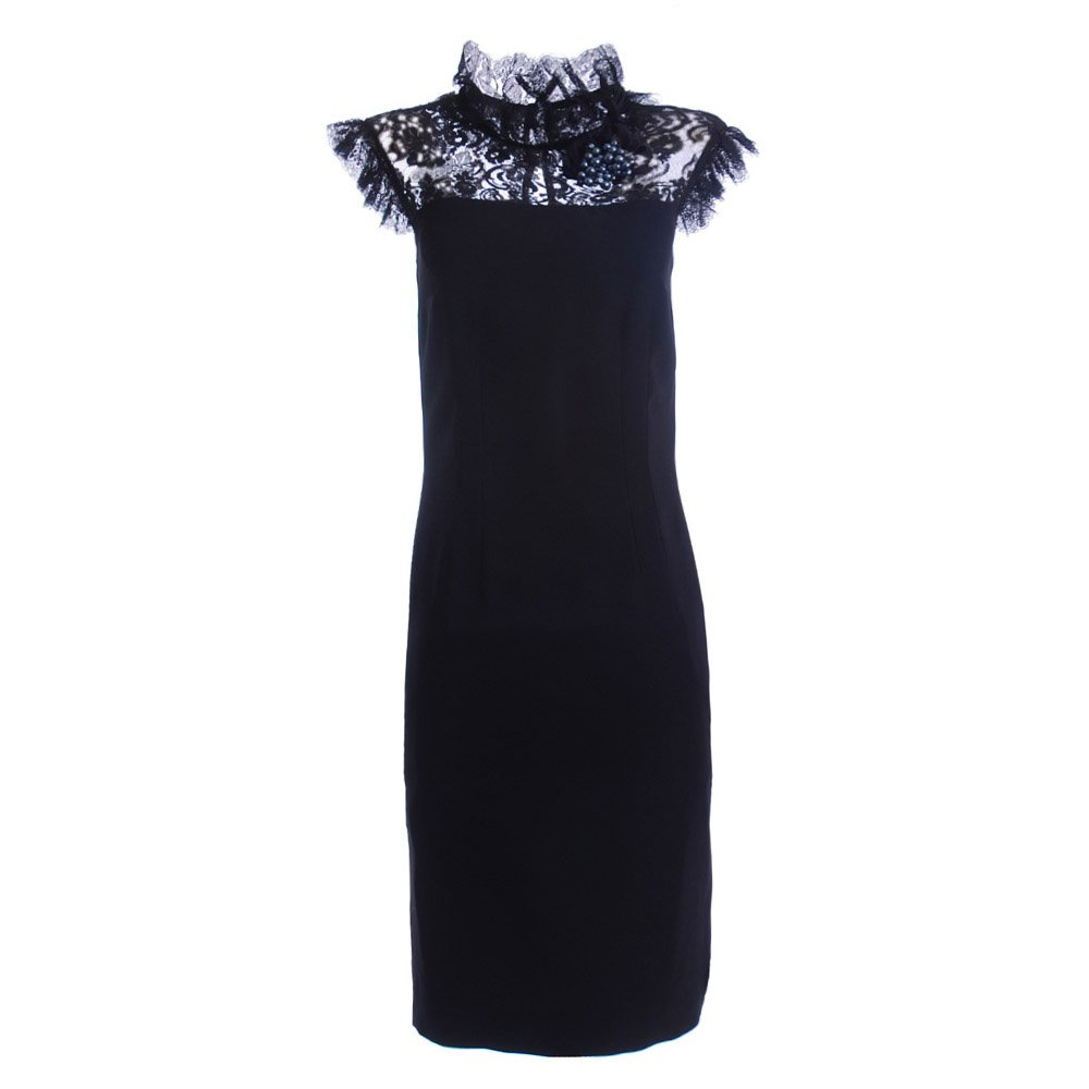 Beautiful black lace dress from DG edwardian style high neckline with cap
