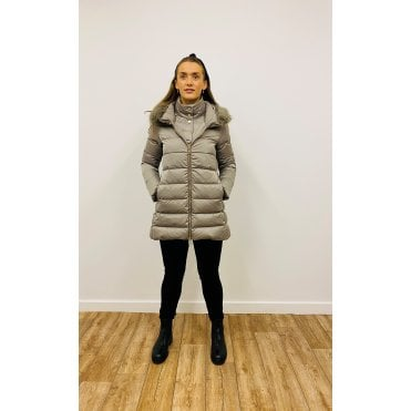 A Line Faux Fur Double Puffer