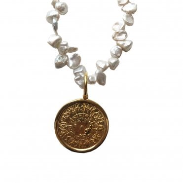 Achilles Shield Pearl Necklace