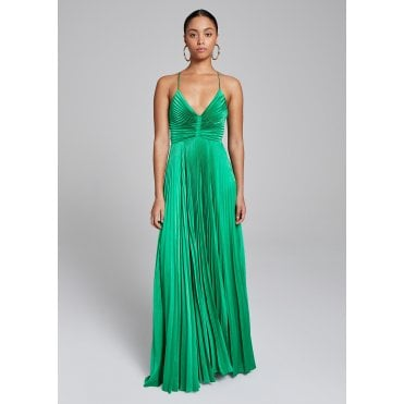 Aries Pleated Maxi Dress