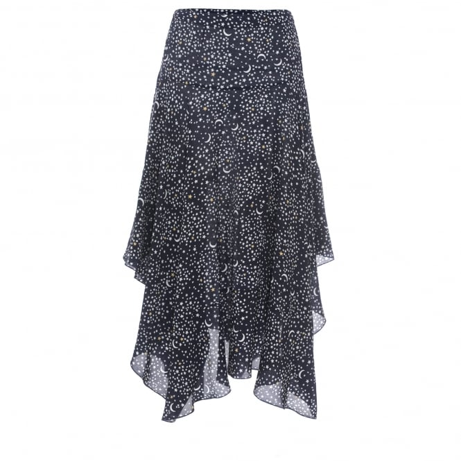 Asymmetric silk skirt