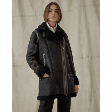 Avia Mid Length Shearling Coat