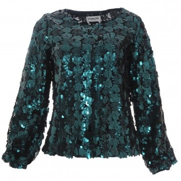 Bottle Green Sequined Blouse
