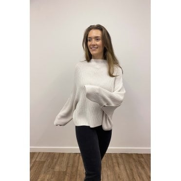 Button Ruched Sleeve Jumper