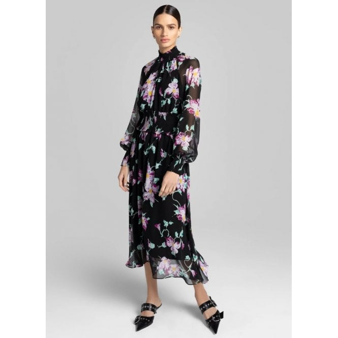 Casey High Neck Elastic Waist Floral Midi Dress