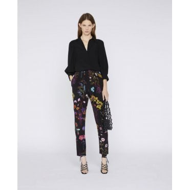 Christine Floral Slouch Silk Black Trouser