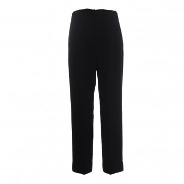 Classic Crepe High Waist Stretch Crop Trousers