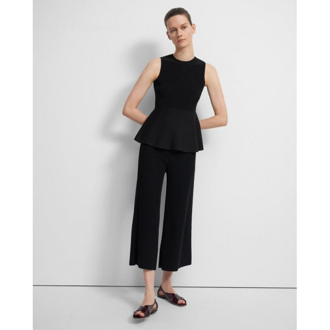 Cropped Flared Pant in Ribbed Knit Henriette Knitted Trousers