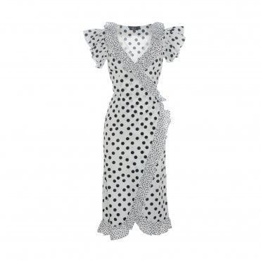 De La Vali Cadaques White Polka Wrap Dress
