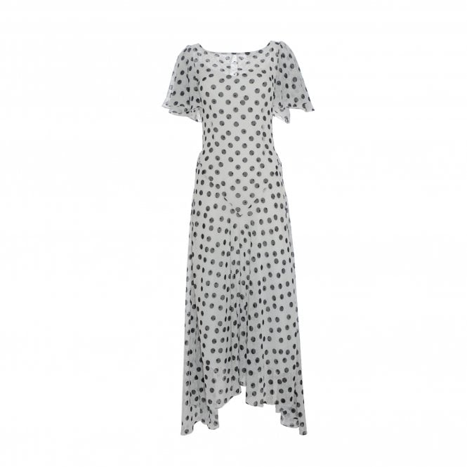 De La Vali Olivia White Polka Dot Viscose Maxi Dress