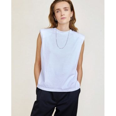 Devon Sleeveless Padded Shoulder Tee