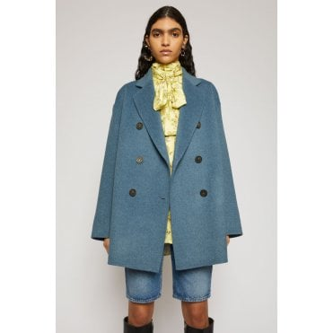 Double-Breasted Wool Coat Aqua Blue
