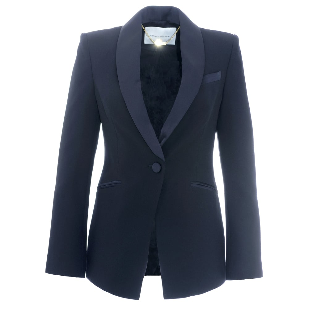 Camilla And Marc Navy Fresco Tuxedo Jacket Designer
