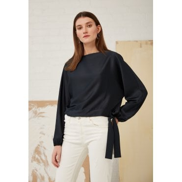 Hannah Crop Tie Long Sleeved Top