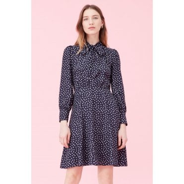 Heart Print Tie Neck Long Sleeved Dress