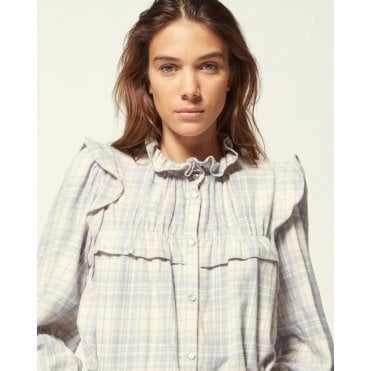 Idety Check Ruffle Shoulder Shirt