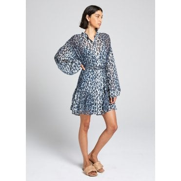 Jen Dress Blue Leo Mini Dress