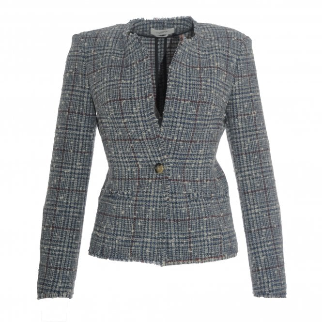 Kamila Checked Collarless Jacket