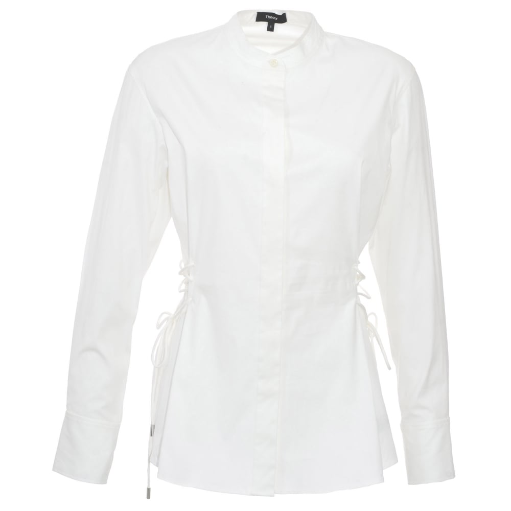 4a348113e8 Theory white cotton shirt with laced sides | Designer womens blouses