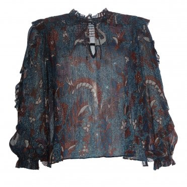 Lara Tie V-Neck Bird Blouse