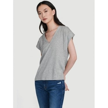 Le Mid Rise V Neck Tee Gris Heather