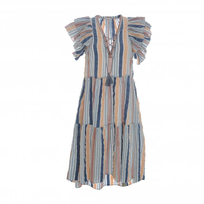 Leonie Multi Stripe Tie Neck Dress