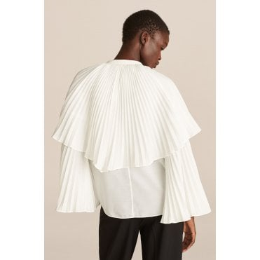 Long Sleeve Voile Pleat Blouse