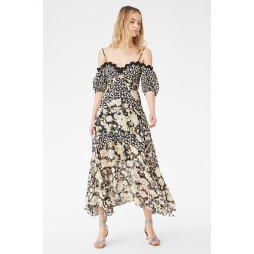 Mix Print Cold Shoulder Full Length Dress