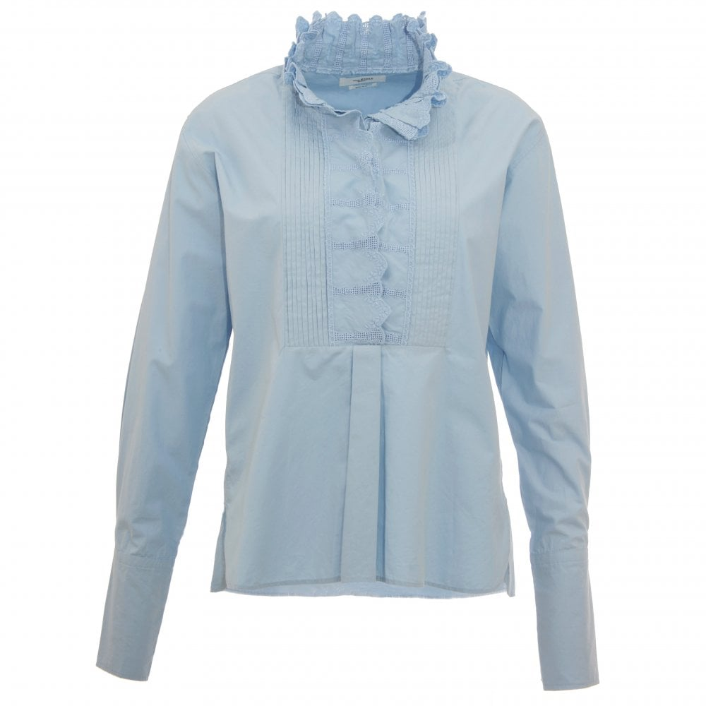 ed071b0f10 Isabel Marant Etoile Mora Blue Cotton Blouse