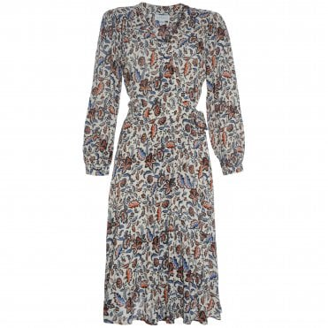 Nadia Leaf Print Wrap Dress