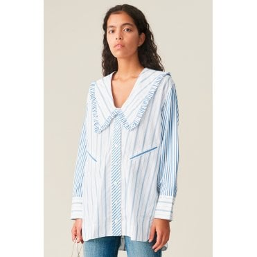Over Size Stripe Exaggerated Collar Blouse