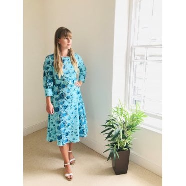 Peony Print Belted Long Sleeve Dress