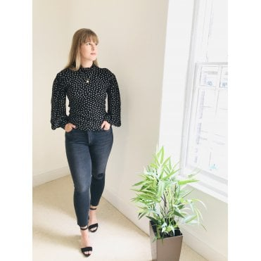 Polka High Neck Top
