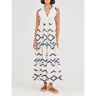 Rombus Sleeveless Maxi Dress