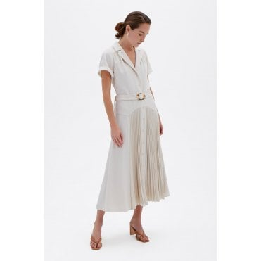 Sama Recycled Crepe Pleat Midi Dress
