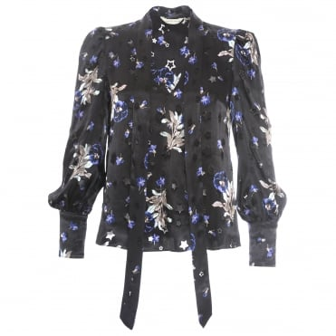 Scarf Neck Floral Blouse