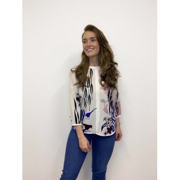 Silk Front Print Blouse