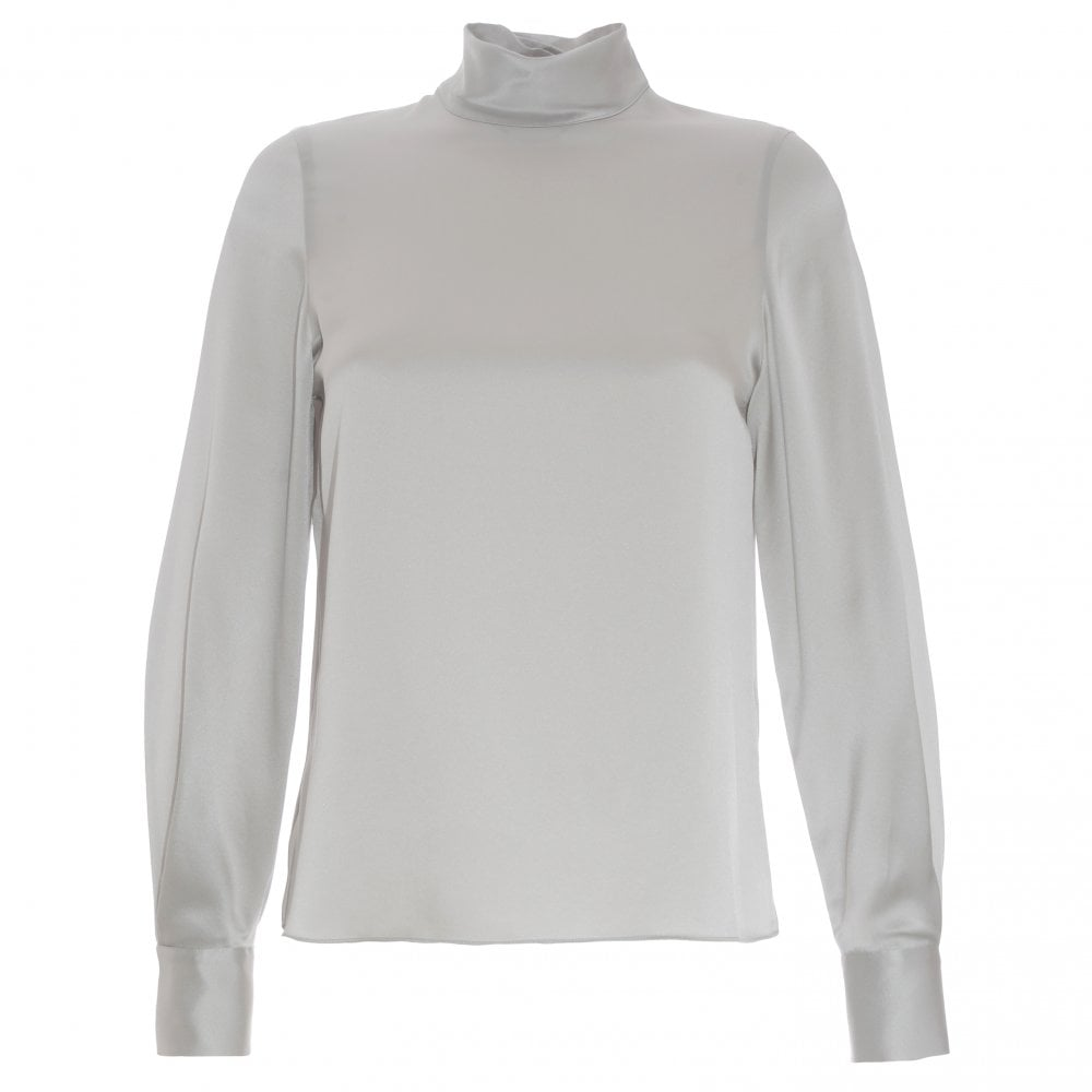 56833f6022641 Vince turtle neck silk silver blouse