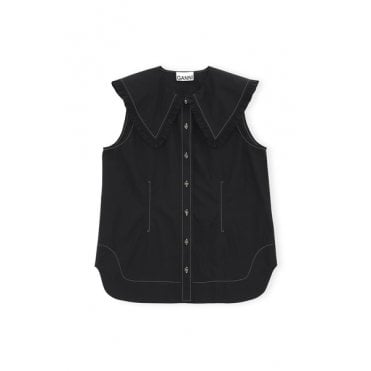 Sleeveless Large Collar Shirt