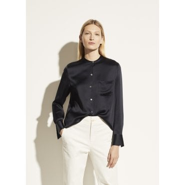 Slim Satin Band Collar Blouse